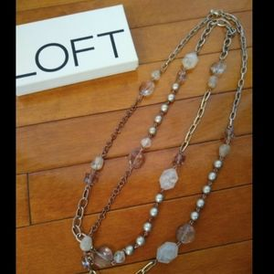 LOFT long adjustable Faceted & Metal Bead Necklace